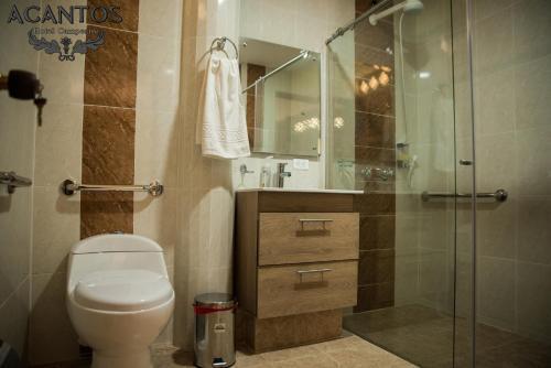 A bathroom at Acantos Hotel Campestre