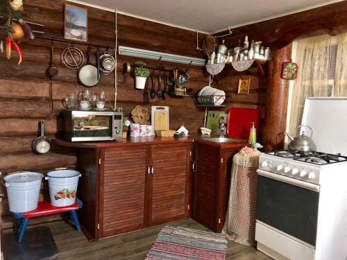 A kitchen or kitchenette at Dom V Russkom Stile