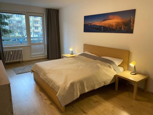 Posteľ alebo postele v izbe v ubytovaní Apartmán Centrum Komfort