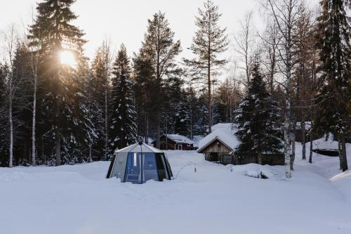 Ollero Eco Lodge (including a glass igloo) during the winter