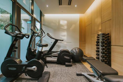 Das Fitnesscenter und/oder die Fitnesseinrichtungen in der Unterkunft Hotel Traveltine