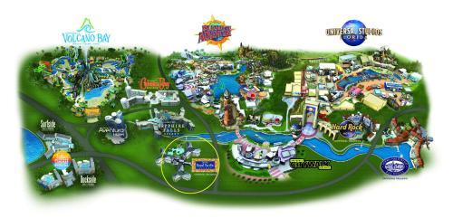 A bird's-eye view of Universal's Loews Royal Pacific Resort