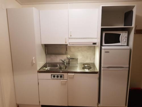Ett kök eller pentry på Solvändans Stugby