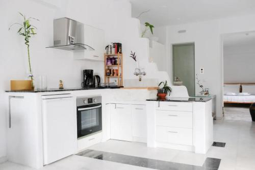 A kitchen or kitchenette at Bright Eco Studios