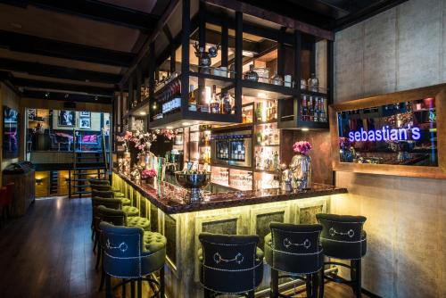 The lounge or bar area at Hotel Sebastians