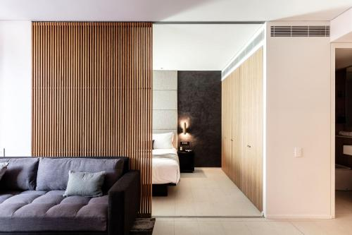 A seating area at SKYE Suites Sydney