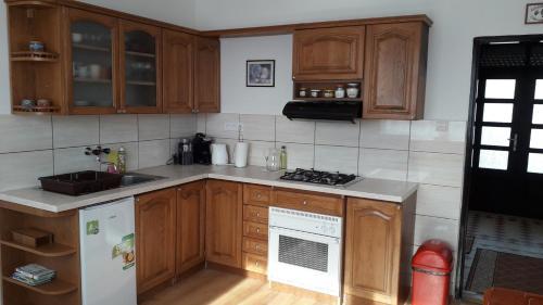 Kuchyňa alebo kuchynka v ubytovaní Cenovo výhodné ubytovanie v tichej štvrti
