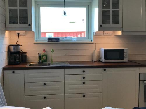 Ett kök eller pentry på Sjöboa Björkö - Sea Lodge