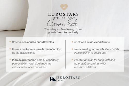 Ein Zertifikat, Auszeichnung, Logo oder anderes Dokument, das in der Unterkunft Eurostars Rey Don Jaime ausgestellt ist