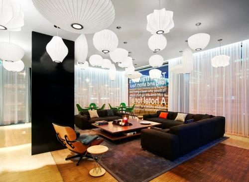 A seating area at citizenM Schiphol Airport