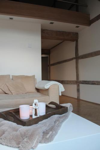 Een zitgedeelte bij Apartment De Maasnacht