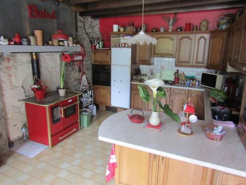 A kitchen or kitchenette at Fermette dans les pays de la Loire