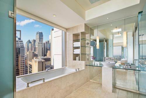 A bathroom at The Fullerton Hotel Sydney