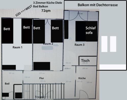 The floor plan of Cologne Apartment – City, Trade Fair, E-Werk