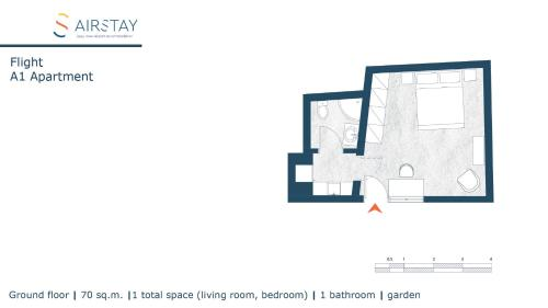 The floor plan of Flight Apartments Airport by Airstay