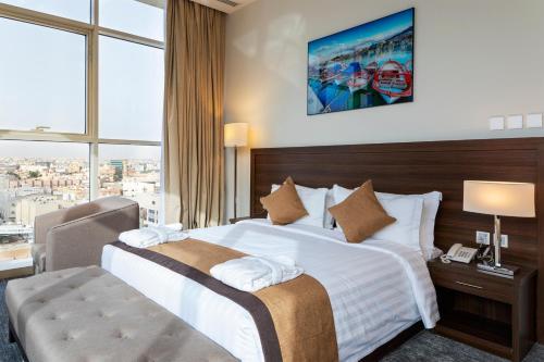 Cama ou camas em um quarto em صبا للشقق الفندقيه