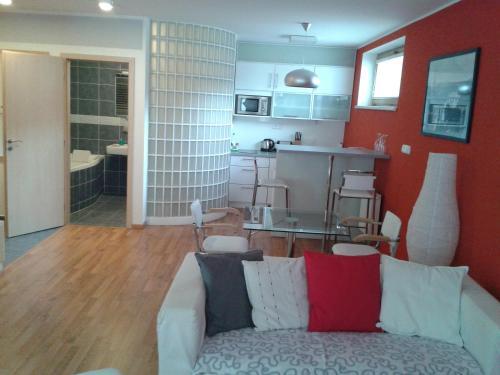 Kuchyň nebo kuchyňský kout v ubytování Apartmán Anežka