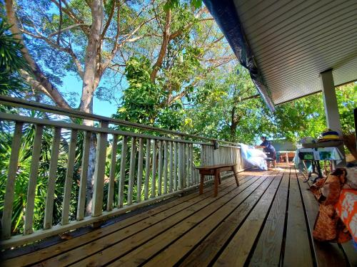Outdoor Covered terrace Backpackers Kohutahia Lodge pick-up needed 7 minutes by car from airport and town