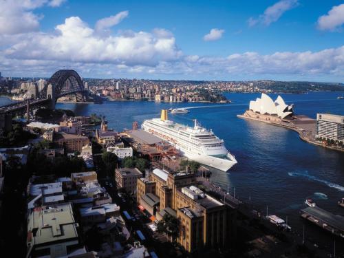 Blick auf Four Seasons Hotel Sydney aus der Vogelperspektive