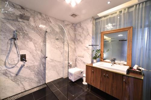 A bathroom at ALI House