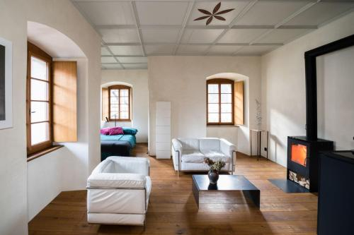 Ein Sitzbereich in der Unterkunft Palazzo Comacio