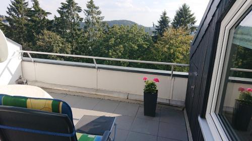 A balcony or terrace at Ferienwohnung Bundkirchen