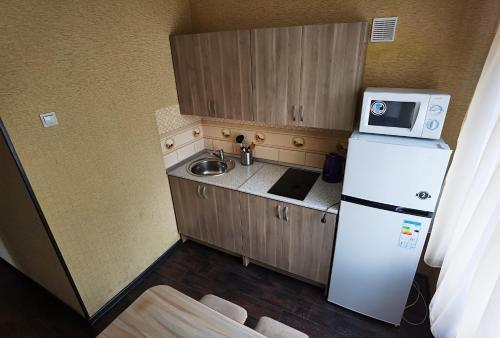 A kitchen or kitchenette at Apartamenty Kalina na Volgogradskaya 1