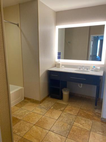 A bathroom at Homewood Suites by Hilton Decatur-Forsyth