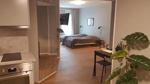 Säng eller sängar i ett rum på Apartments Uppsala - Portalgatan
