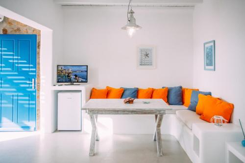 A seating area at Mykonos Supreme Comfort Suites