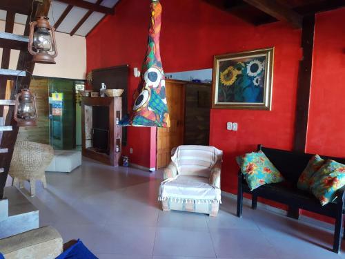 The lobby or reception area at Canto Caiçara Hostel