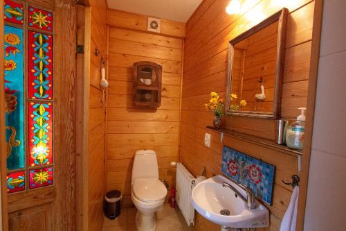 A bathroom at Ezera Maja