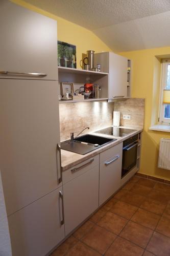 Küche/Küchenzeile in der Unterkunft Ostetal