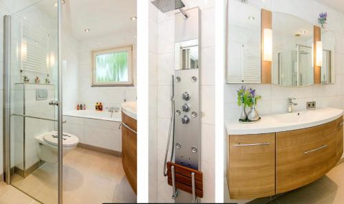A bathroom at Modern townhouse with garden