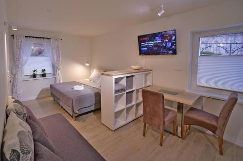 Telewizja i/lub zestaw kina domowego w obiekcie Apartamenty Sjesta River
