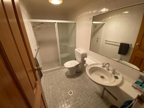 A bathroom at Top of the Town Motor Inn