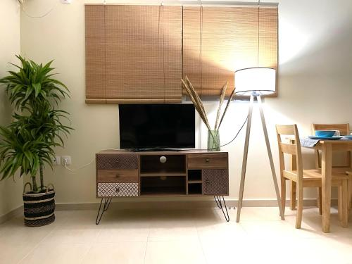 A television and/or entertainment center at Bohem Apartment near Athens Airport
