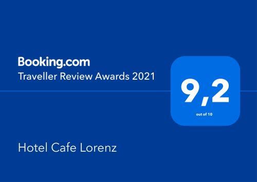 Сертификат, награда, вывеска или другой документ, выставленный в Hotel Cafe Lorenz