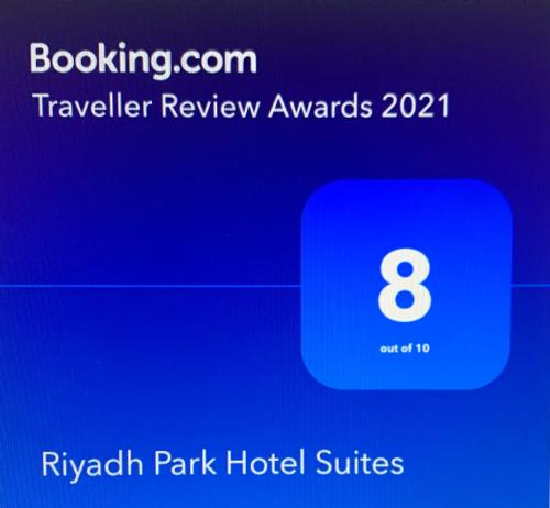 Um certificado, prêmio, placa ou outro documento exibido em Riyadh Park Hotel Suites