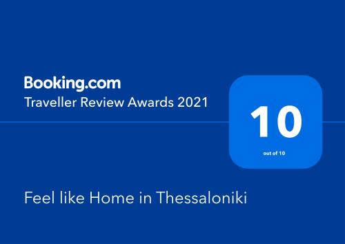 A certificate, award, sign or other document on display at Feel like Home in Thessaloniki