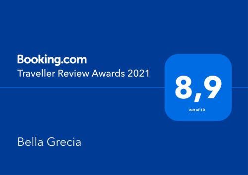Πιστοποιητικό, βραβείο, πινακίδα ή έγγραφο που προβάλλεται στο Bella Grecia