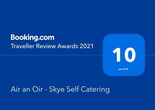 Een certificaat, prijs of ander document dat getoond wordt bij Air an Oir - Skye Self Catering