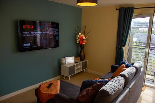 A television and/or entertainment center at Broad Gauge Suite