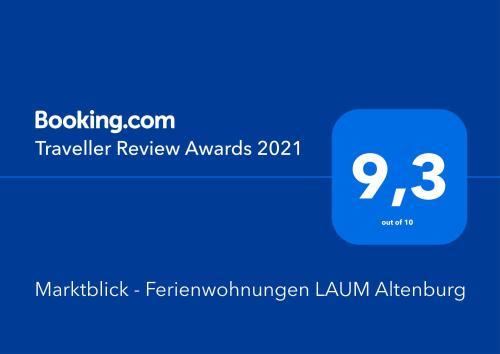 Ein Zertifikat, Auszeichnung, Logo oder anderes Dokument, das in der Unterkunft Marktblick - Ferienwohnungen LAUM Altenburg ausgestellt ist