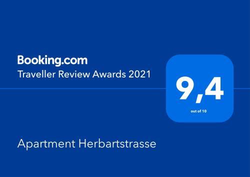 Сертификат, награда, вывеска или другой документ, выставленный в Apartment Herbartstrasse