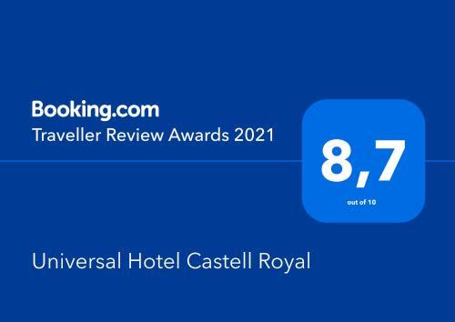 Certifikát, ocenenie alebo iný dokument vystavený v ubytovaní Universal Hotel Castell Royal