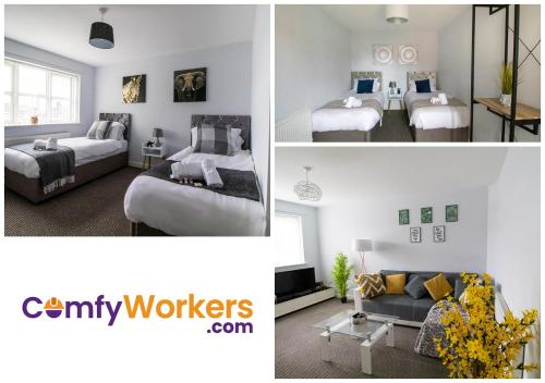 A seating area at Spacious Contractors House & Private Parking by ComfyWorkers