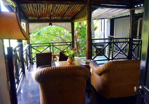 A seating area at Fond Doux Eco Resort