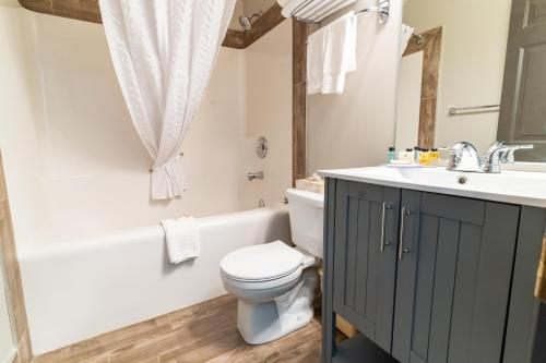 A bathroom at Canmore Rocky Mountain Inn