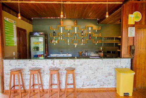 The lounge or bar area at Amazon Turtle Lodge